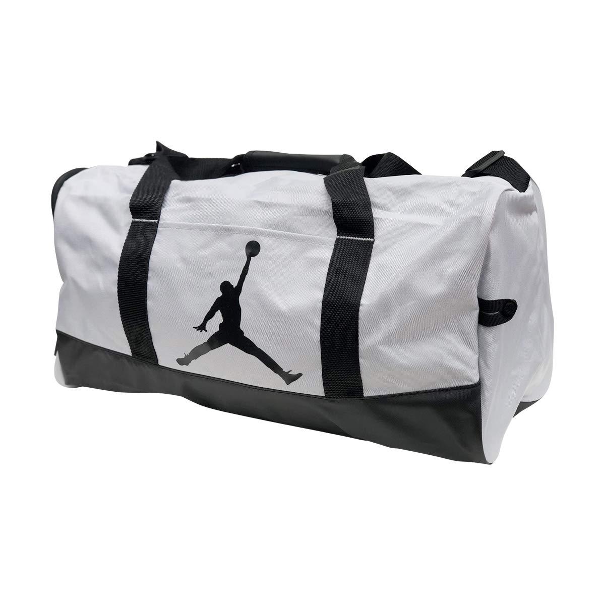 Nike Air Jordan Jumpman Duffel Sports Gym Bag 8A1913 Wet/Dry Shoe Pocket Water Resistant (Grey/Black)