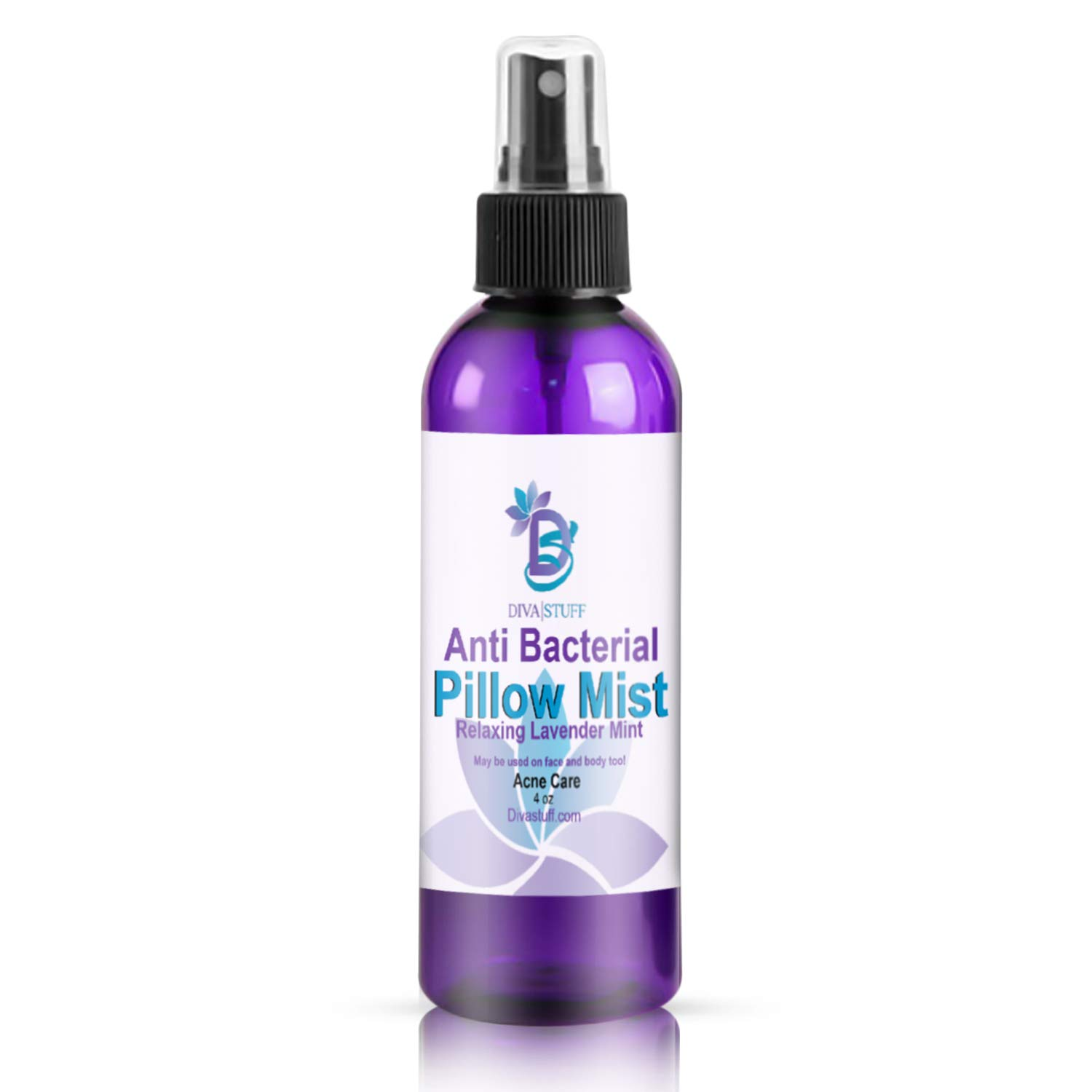 Diva Stuff Anti-Bacterial Pillow Mist, Promotes Clear Skin & Kills Acne-Causing Bacteria, Cleans Pillows, Pillowcases, Beddings, Sheets, Made in USA, Safe Ingredients, 4 fl oz