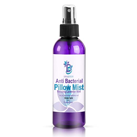 Diva Stuff Anti-Bacterial Pillow Mist | Promotes Clear Skin & Kills Acne-Causing Bacteria | Cleans Pillows, Pillowcases, Beddings, Sheets | Made in USA | Safe Ingredients | 4 fl oz