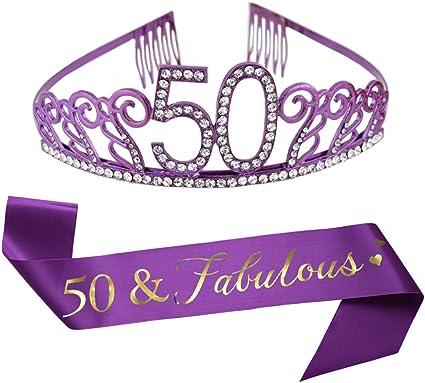 Amazon.com: Tiara de 50 cumpleaños morada y fajín morado con ...