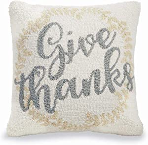 "Mud Pie Home Give Thanks Thanksgiving Hooked Wool Pillow- 16"" Square"