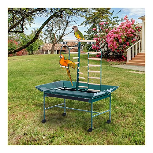 53″ Large Bird Play Stand Parrot Pet Gym Perch w/ Wheel Bowl Ladder Swing by Unknown