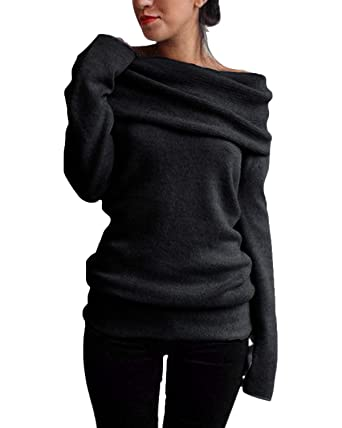 Styledome Off The Shoulder Pullover Sweater Sexy Slim Knitwear Long
