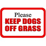 """Plastic Sign Please Keep Dogs off Grass Red - 6"""" x 9"""" (15.3cm x 22.9cm)"""