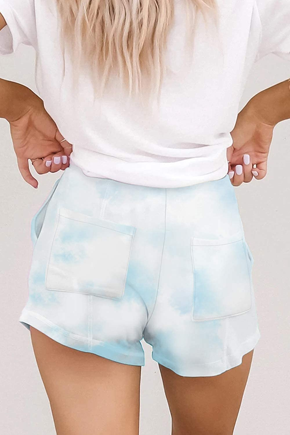 Cutiefox Womens Tie Dye Printed Drawstring Shorts Elastic Waist Shorts Casual Pants with Pockets