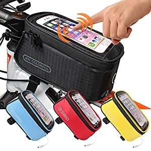 JOY COLORFUL Bicycle Bags Bicycle Front Tube Frame Cycling Packages 4.2,4.8,5.5 inches Touch Screen Mobile Phone Bags Professional Bicycle Accessories (Black, Large)