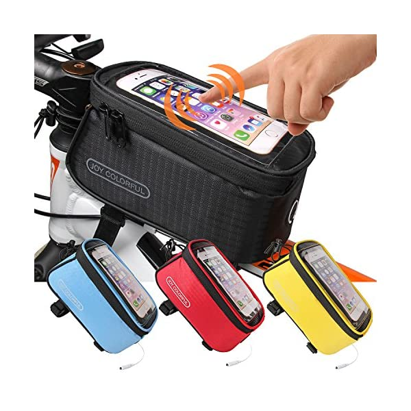 JOY COLORFUL Bicycle Bags Bicycle Front Tube Frame Cycling Packages 4.2,4.8,5.5 inches...