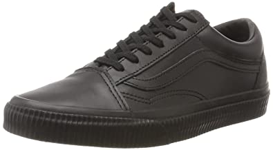 vans black leather trainers