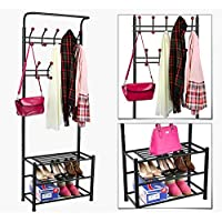 World Pride Metal Multi-purpose Clothes Coat Stand, Shoes Rack Umbrella Stand, With 18 Hanging Hooks, Max Load Capicity Up to 67.5Kg/148.8Lb, 26.7 x 12.2 x 74' Black
