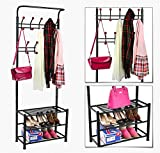 World Pride Metal Multi-purpose Clothes Coat Stand, Shoes Rack Umbrella Stand, With 18 Hanging Hooks, Max Load Capicity Up to 67.5Kg/148.8Lb, 26.7 x 12.2 x 74'' Black