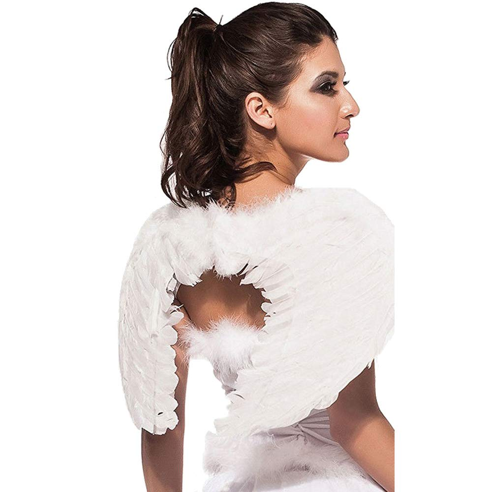 AISHN Angel Wings Feather Cosplay Halloween Party Costumes for Kids Adults Women (Small 17.7''X 13.8'', White) by AISHN