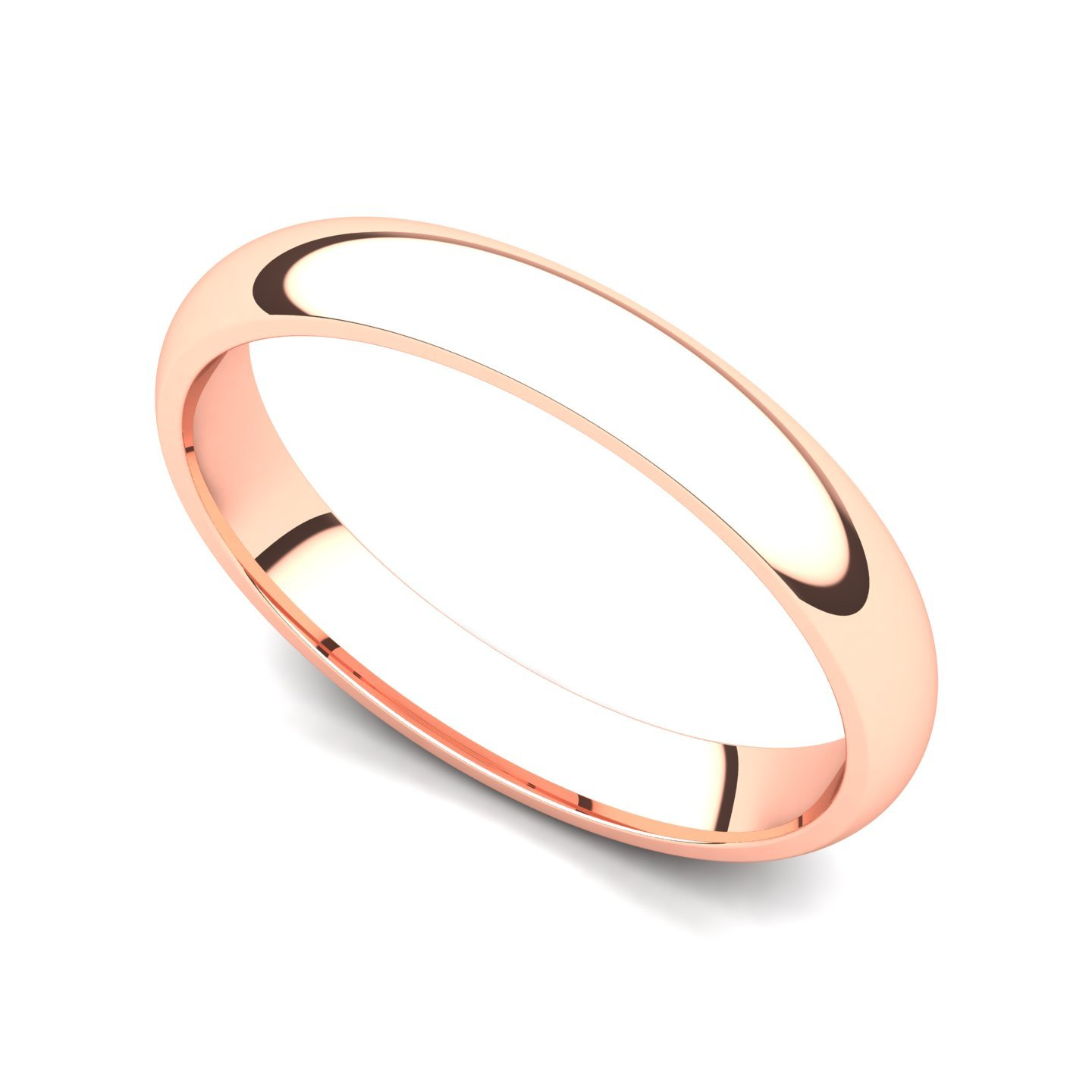 18k Rose Gold 3mm Classic Plain Comfort Fit Wedding Band Ring, 7
