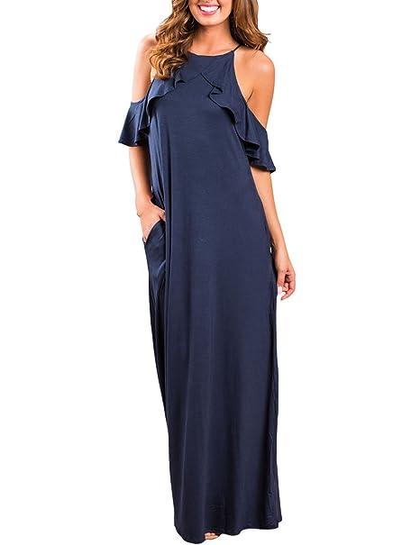 Boutiquefeel Maxi Vestido de Color Sólido Hombros Descubiertos con Volantes para Mujer