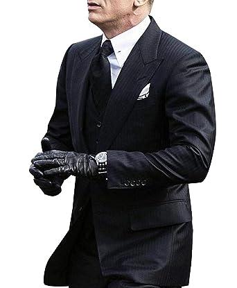 4c7b10f27f7b YSMO Herren Slim Fit Streifen 3-teilige Schwarze Anzugjacke   Weste   Hose