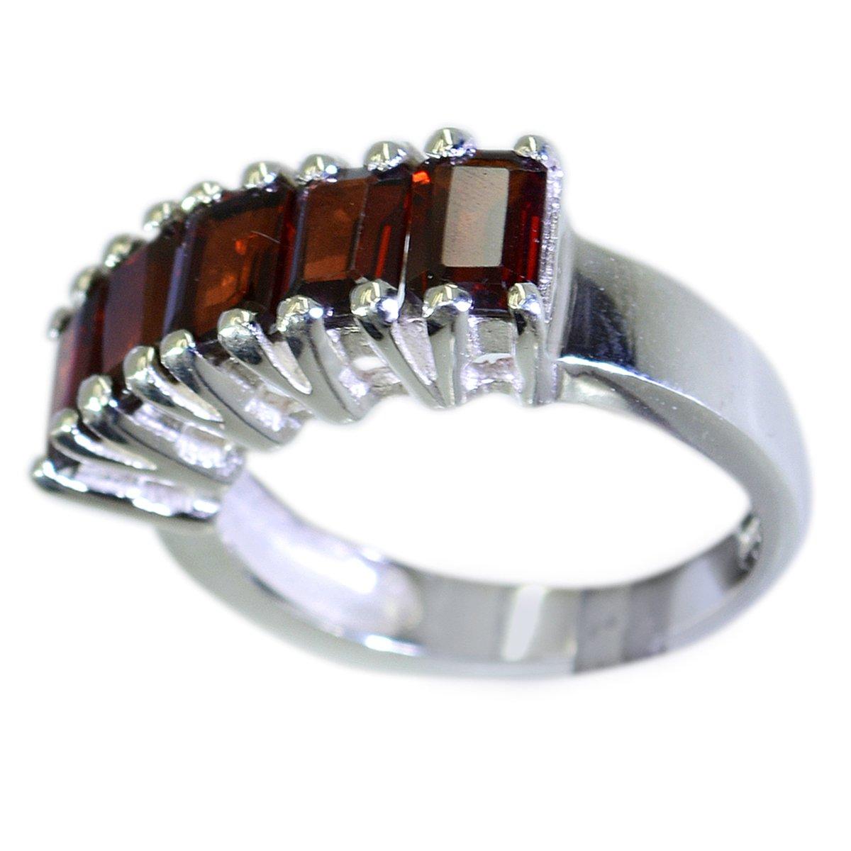 CaratYogi Elegant Fine Garnet Statement Ring in Silver Emerald-Cut Shape Bar Style Jewellery Size 5-12