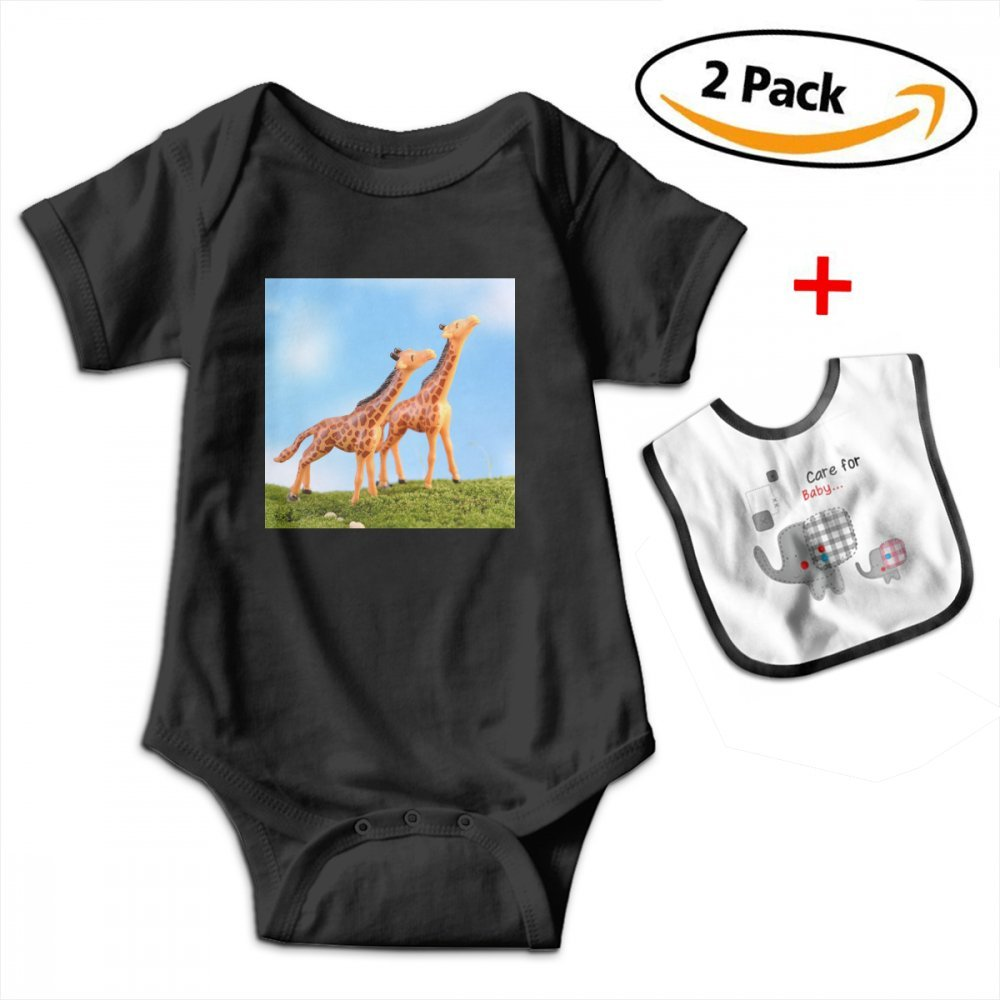 Artificial Mini Sika Deer Baby Bodysuits Funny Short Sleeve