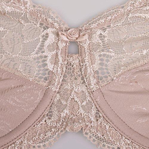 2a597f3e54 Delimira Women s Beauty Lace Non Padded Minimizer Full Figure Underwire Bra  Brown 42DD