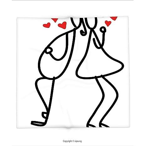 vipsung Manta Estilo de Dibujos Animados Hechos a Mano de romántico San Valentín Pareja con Caperucita