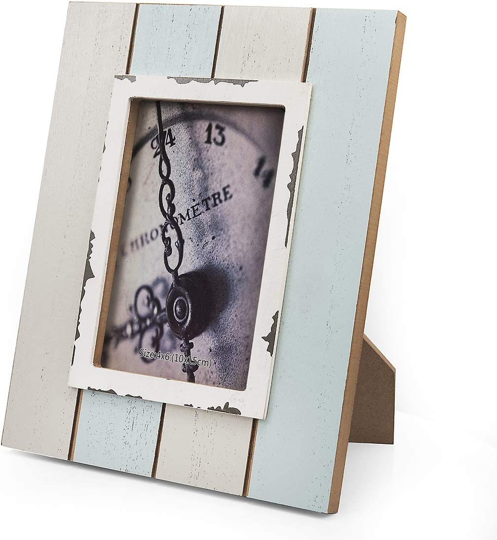Metrekey 4x6 Picture Frame Distressed Wood 4x6 Frame Turquoise Table Standing Coastal Farmhouse Plank Photo Frame with High Definition Glass m316