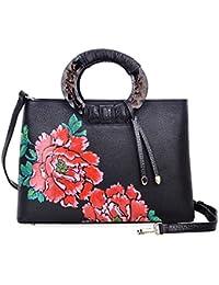 Floral Handbags and Purses Designer Leather Tote Handbag for Women 6016