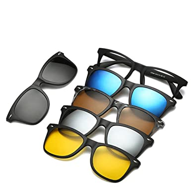 388d55f89e9b Amazon.com: Eyewear Frames With 5 Clip On Sunglasses Magnetic Eye ...
