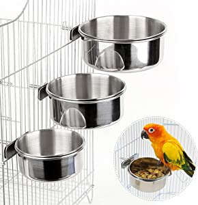 3PCS Bird Feeder for Cage with Clamp Holder, Bird Feeding Dish Cups Stainless Steel Bird Bowl Parrot Feeding Cups Animal Cage Water Food Bowl for Parakeet Conure Cockatiels Budgie Lovebird Chinchilla