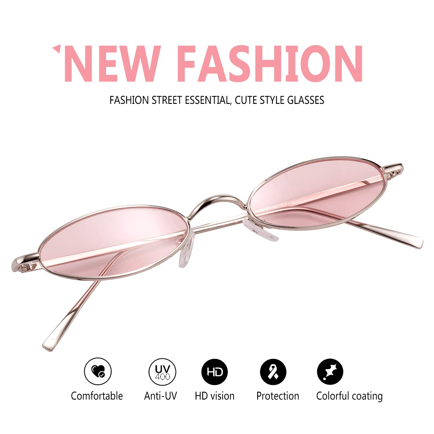 56501450b1 Vintage Oval Sunglasses For Women – Feirdio Small Metal Frame Candy Color  2265