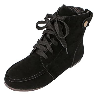 5470468da0dc Women Ankle Boots Flat Fashion Suede Lace-Up Martin Combat Boots Black 10.5