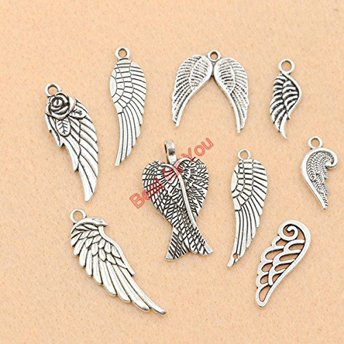 Mixed Tibetan Silver Plated Angel Fairy Wings Charms Pendants Jewelry Making Accessories Diy Jewelry Findings Zinc Alloy (Juicy Couture Wings)