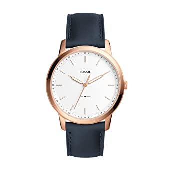 Fossil Mens Minimalist Quartz Stainless Steel and Leather Casual Watch Color: Rose Gold Blue (