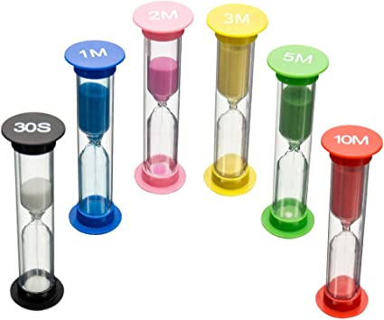 Foxnovo 6 Colors Hourglass Sand Clock Timer 30sec 3mins 2mins Random Color 5mins 10mins 1min