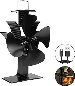 EXTSUD kachelventilator stroomloze ventilator voor open haard, houtkachels, milieuvriendelijke kachelventilator met 4 rotorbladen, perfect voor optimale verdeling van de lucht