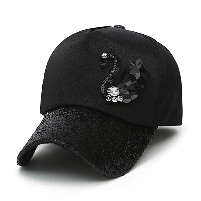 Fashion Women Adjustable 5 Panel Baseball Cap with Diamond Sequins Ladies Snapback Gorras Casquette for Female