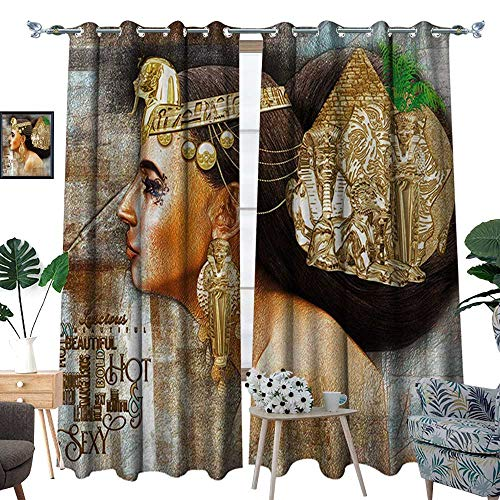 RenteriaDecor Egyptian Room Darkening Wide Curtains Woman Queen Cleopatra Profile Historical Art Scene with Ancient Pyramid Sphinx Decor Curtains by W72 x L96 Multicolor]()