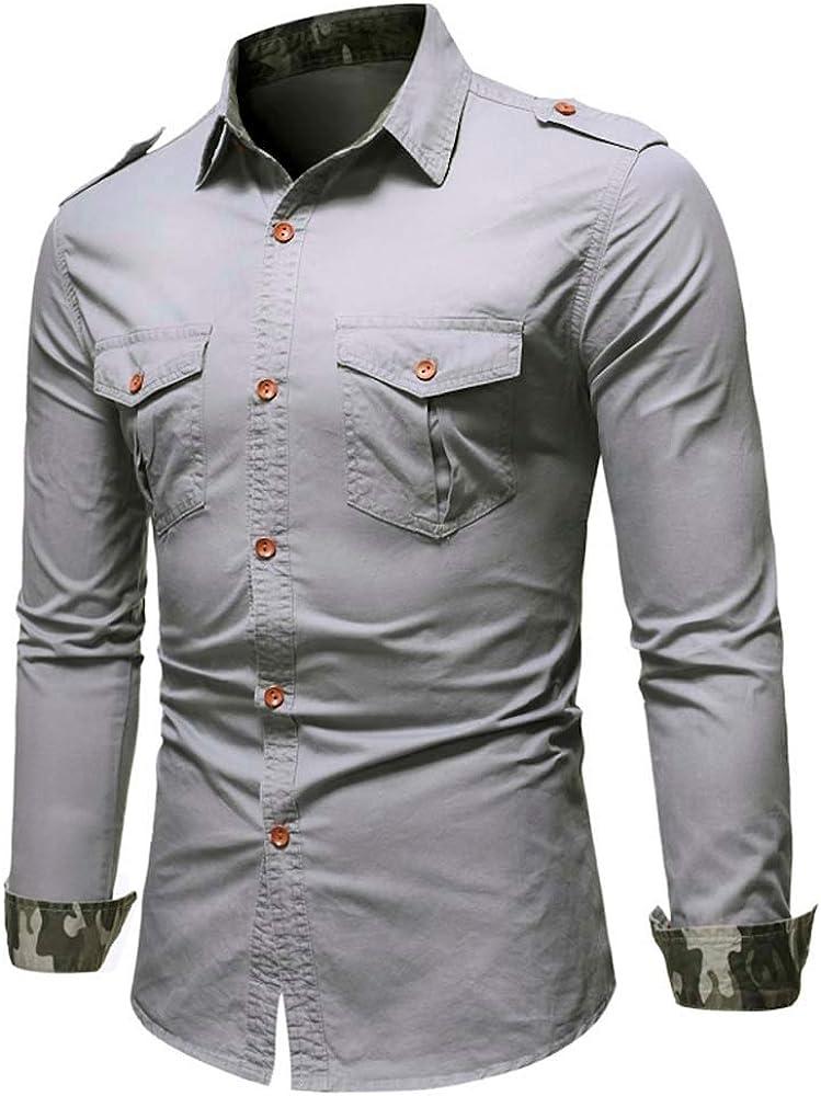 Heetey - Camisa Vaquera de Manga Larga, Estilo Cowboy, para el Ocio, para Hombre, Informal, con Bolsillos y Blusa Superior Gris L: Amazon.es: Ropa y accesorios