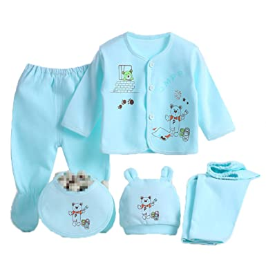 3db8c6b313115 Monvecle 5-Piece Newborn Clothes Infant Baby Underwear Outfit Layette Gift  Set 100% Cotton Blue: Amazon.co.uk: Clothing