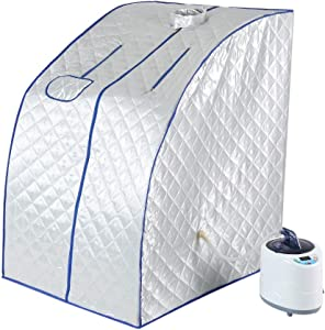 Oumij Oversized Portable Steam Sauna Spa-Home Tent,Spa for Weight Loss,Detox,Relaxation Full Body at Home,1000W Steam Generator,US Plug Included(Silver)
