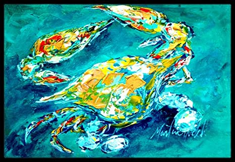 Multicolor Carolines Treasures Big Spash Crab in Blue Indoor or Outdoor Mat 18 x 27
