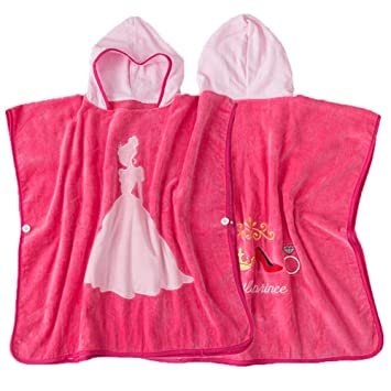 Poncho de toalla de baño con capucha para niños Princesa rosada Niñas Albornoz Algodón orgánico Niños ...