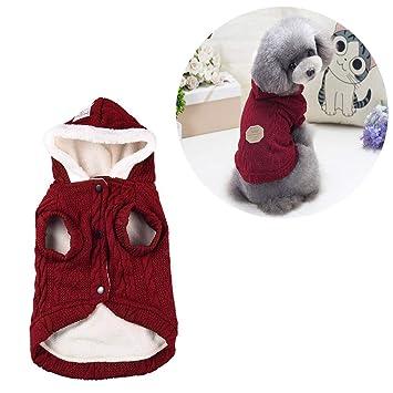 Petilleur Suéter para Perros Gatos Abrigo Capucha Perro Invierno para Perros Pequeños (L, Rojo