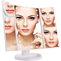 Jieway Tri-Fold Lighted Vanity Makeup Mirror with LED Lights, Touch Screen, Adjustable Brightness Table Top Lamp Mirror 1X / 2X / 3X / 10X