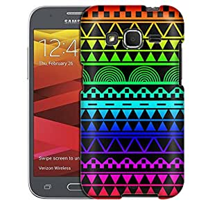 Samsung Galaxy Core Prime Case, Slim Fit Snap On Cover by Trek Aztec Rainbow on Black Case