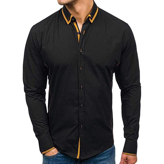 Invierno otoño 2018 Moda Hombres Camisas de Manga Larga Hombres Camiseta Slim fit Business Casual Men Fashion Slim Fit Casual Short Sleeves Shirts Tops ...