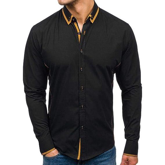 Invierno otoño 2018 Moda Hombres Camisas de Manga Larga Hombres Camiseta Slim fit Business Casual Men