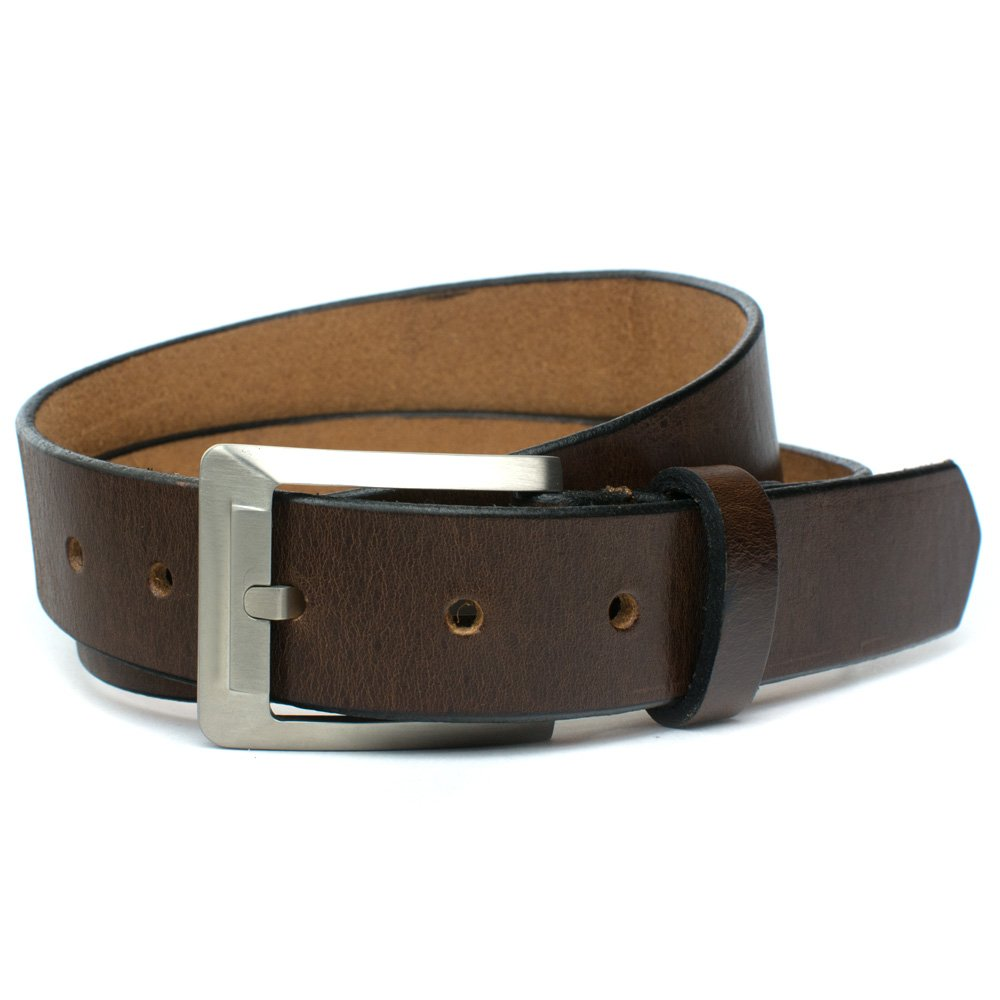Nickel Smart Titanium Brown Dress Belt Top Grain Leather Belt with Nickel Free Titanium Buckle