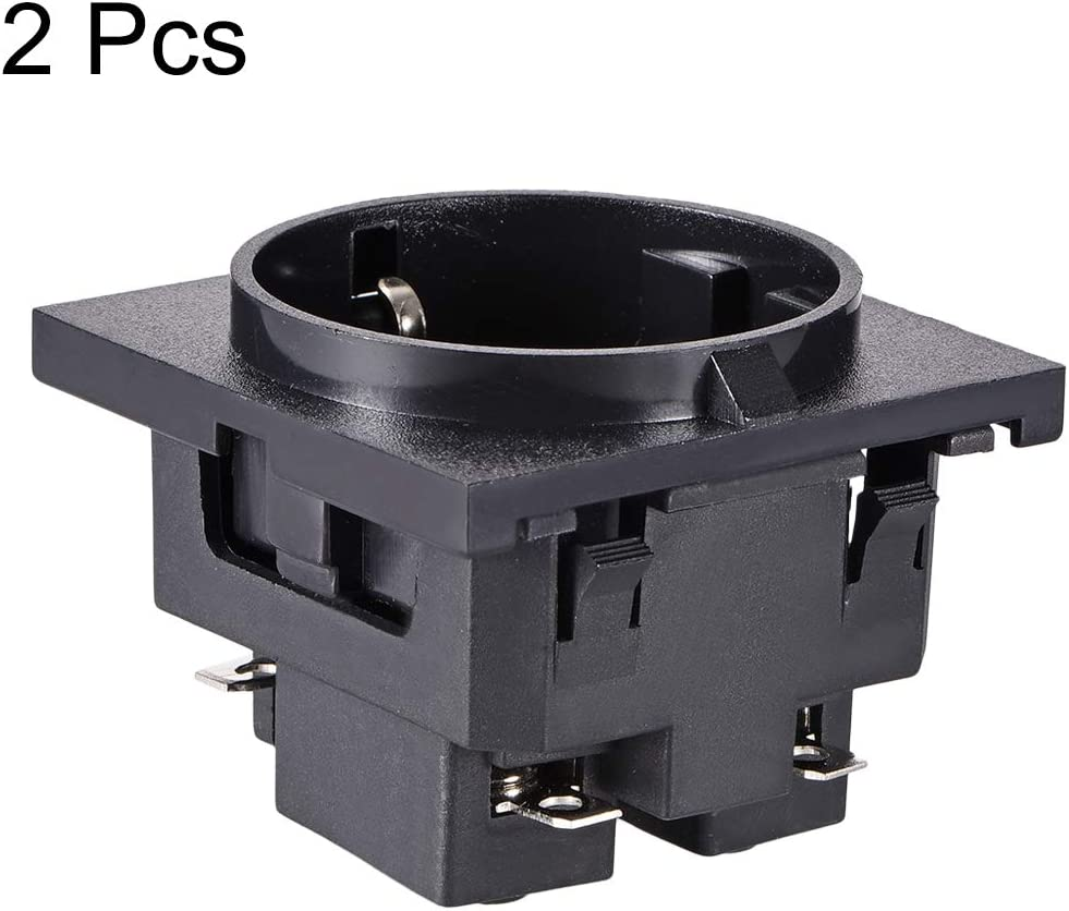 uxcell Panel Mount Outlet Adapter 250V AC 16A 3 Pins Power Socket Right Angle Pack of 2