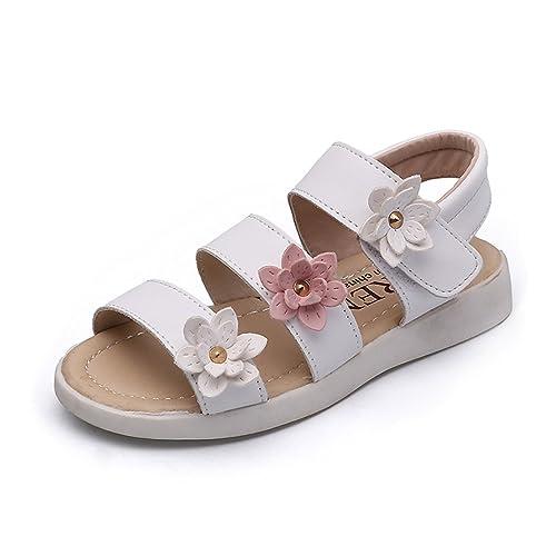 62a8bb9510256 ON Kids Little Girls Gladiator Flower Strappy Princess Flat Sandals Flip  Flops Beach Shoes White