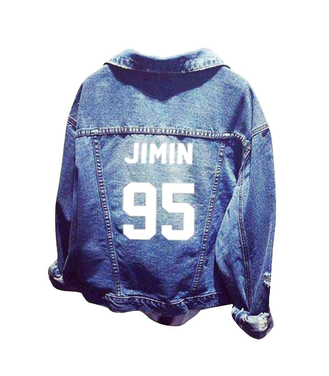 APHT Unisex KPOP BTS Jeans Outwear Lunga Denim Cappotto Moda Nuovo Stile BTS Giacca di Jeans in Fiore di ciliegio Suga Jin Jimin Jung Kook J-Hope Rap-Mostro V