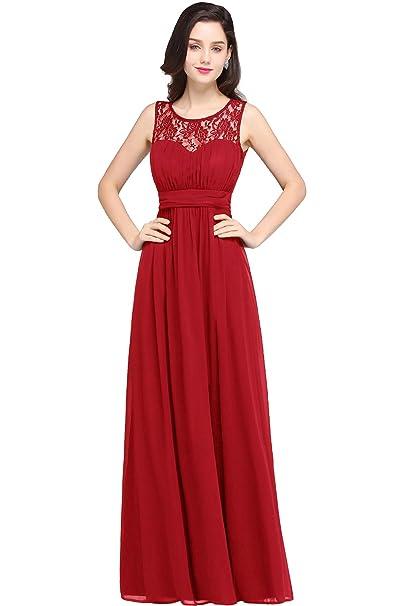 Babyonlinedress Vestido rojo de chiffón para fiesta de mujer cuello redondo sin mangas sin espalda estilo