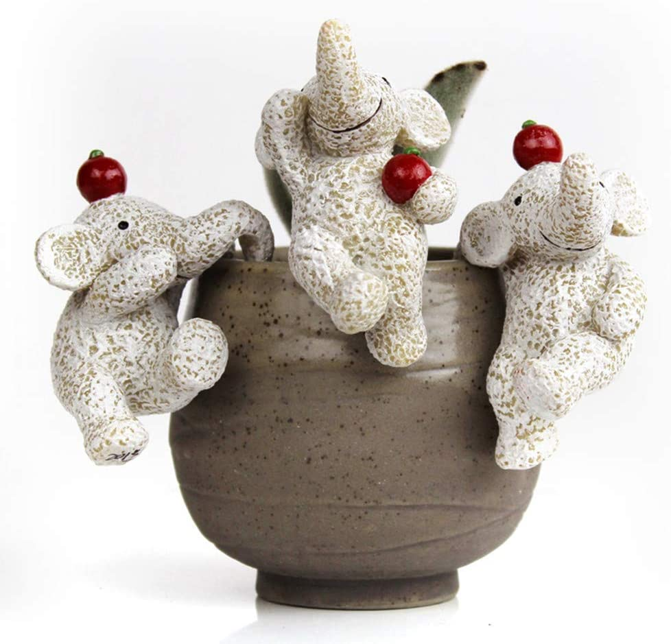 ChuXing Ifever 3 Pcs Resin Elephant Miniature Fairy Garden Accessories, Dog Figurines Animal Ornaments Planter Pot Hanger Decorations (Elephant with Apple)